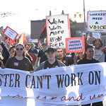 Fight for  minimum wage rally and march at the University of Rochester.